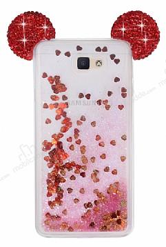 Samsung Galaxy J7 Prime Sulu Kırmızı Taşlı Kulaklı Kılıf