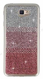 Samsung Galaxy J7 Prime Taşlı Geçişli Pembe Silikon Kılıf