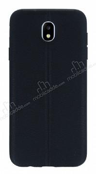 Samsung Galaxy J7 Pro 2017 Deri Desenli Ultra İnce Siyah Silikon Kılıf