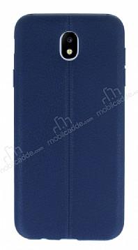 Samsung Galaxy J7 Pro 2017 Deri Desenli Ultra İnce Lacivert Silikon Kılıf