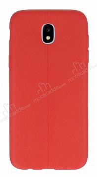 Samsung Galaxy J7 Pro 2017 Deri Desenli Ultra İnce Kırmızı Silikon Kılıf