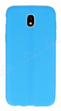Samsung Galaxy J7 Pro 2017 Deri Desenli Ultra İnce Mavi Silikon Kılıf