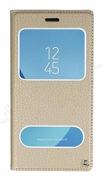 Samsung Galaxy J7 Pro 2017 Gizli Mıknatıslı Çift Çerçeveli Gold Deri Kılıf