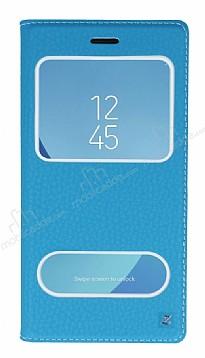Samsung Galaxy J7 Pro 2017 Gizli Mıknatıslı Çift Çerçeveli Mavi Deri Kılıf