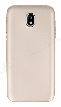 Samsung Galaxy J7 Pro 2017 Metal Kamera Korumalı Gold Silikon Kılıf