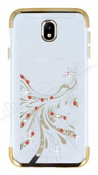 Samsung Galaxy J7 Pro 2017 Gold Peacock Taşlı Şeffaf Silikon Kılıf