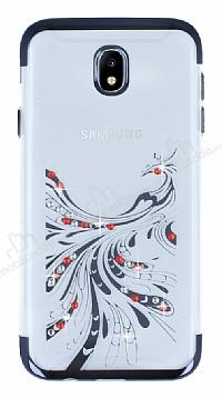 Samsung Galaxy J7 Pro 2017 Siyah Peacock Taşlı Şeffaf Silikon Kılıf