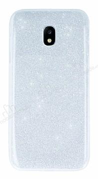 Samsung Galaxy J7 Pro 2017 Simli Silver Silikon Kılıf