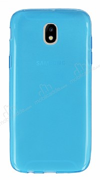 Samsung Galaxy J7 Pro 2017 Ultra İnce Şeffaf Mavi Silikon Kılıf