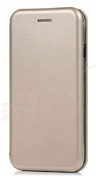 Samsung Galaxy J7 Pro Curve Manyetik Kapaklı Gold Deri Kılıf
