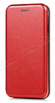 Samsung Galaxy J7 Pro Curve Manyetik Kapaklı Kırmızı Deri Kılıf