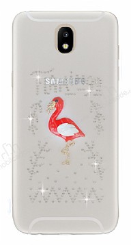 Samsung Galaxy J7 Pro 2017 Taşlı Flamingo Şeffaf Silikon Kılıf