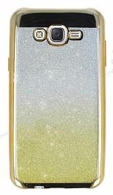 Samsung Galaxy J7 Simli Parlak Gold Silikon Kılıf