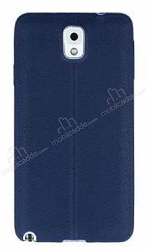 Samsung Galaxy Note 3 Deri Desenli Ultra İnce Lacivert Silikon Kılıf