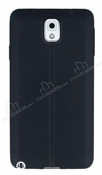 Samsung Galaxy Note 3 Deri Desenli Ultra İnce Siyah Silikon Kılıf