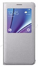 Samsung Galaxy Note 5 Orjinal Pencereli View Cover Silver Kılıf