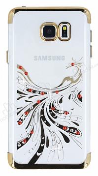 Samsung Galaxy Note 5 Gold Peacock Taşlı Şeffaf Silikon Kılıf
