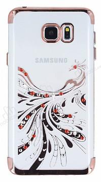 Samsung Galaxy Note 5 Rose Gold Peacock Taşlı Şeffaf Silikon Kılıf
