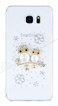 Samsung Galaxy Note 5 Taşlı Baykuş Şeffaf Silikon Kılıf