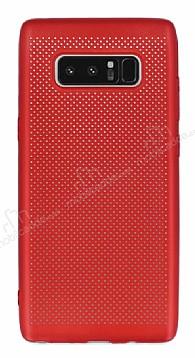 Samsung Galaxy Note 8 Delikli Mat Kırmızı Silikon Kılıf