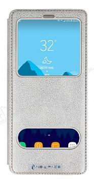 Samsung Galaxy Note 8 Gizli Mıknatıslı Çift Pencereli Gold Deri Kılıf