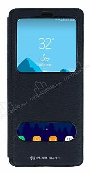 Samsung Galaxy Note 8 Gizli Mıknatıslı Çift Pencereli Siyah Deri Kılıf
