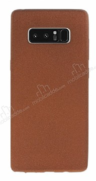 Samsung Galaxy Note 8 Kadife Dokulu Kahverengi Silikon Kılıf
