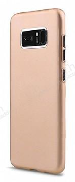 Samsung Galaxy Note 8 Metal Kamera Korumalı Gold Silikon Kılıf