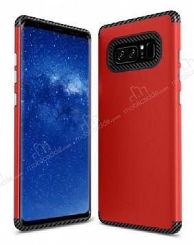 Samsung Galaxy Note 8 Metal Tuşlu Ultra Koruma Kırmızı Kılıf