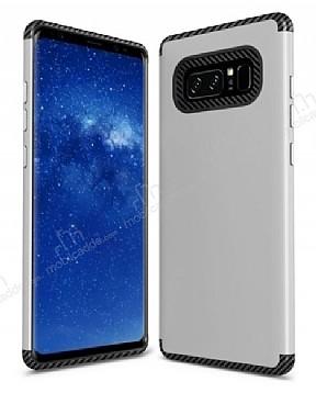Samsung Galaxy Note 8 Metal Tuşlu Ultra Koruma Silver Kılıf