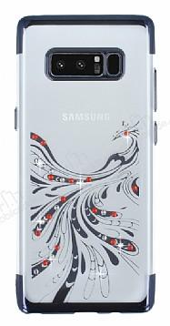 Samsung Galaxy Note 8 Siyah Peacock Taşlı Şeffaf Silikon Kılıf