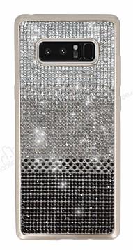 Samsung Galaxy Note 8 Taşlı Geçişli Siyah Silikon Kılıf