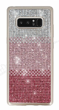 Samsung Galaxy Note 8 Taşlı Geçişli Pembe Silikon Kılıf
