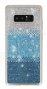 Samsung Galaxy Note 8 Taşlı Geçişli Mavi Silikon Kılıf