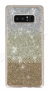 Samsung Galaxy Note 8 Taşlı Geçişli Gold Silikon Kılıf