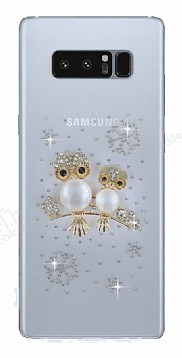 Samsung Galaxy Note 8 Taşlı Baykuş Şeffaf Silikon Kılıf