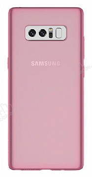 Samsung Galaxy Note 8 Ultra İnce Şeffaf Pembe Silikon Kılıf