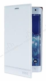 Samsung Galaxy Note Edge Gizli Mıknatıslı Yan Kapaklı Beyaz Deri Kılıf