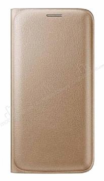 Samsung Galaxy On7 Cüzdanlı Yan Kapaklı Gold Deri Kılıf