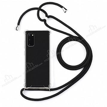 Samsung Galaxy S20 Siyah Askılı Şeffaf Silikon Kılıf