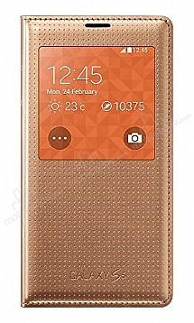 Samsung Galaxy S5 Orjinal Pencereli S View Cover Gold Kılıf