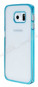 Eiroo Breza Samsung Galaxy S6 Edge Mavi Metal Kenarlı Şeffaf Rubber Kılıf