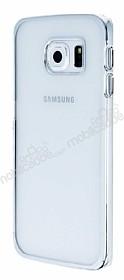 Eiroo Breza Samsung Galaxy S6 Edge Silver Metal Kenarlı Şeffaf Rubber Kılıf