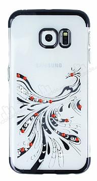 Samsung Galaxy S6 Edge Siyah Peacock Taşlı Şeffaf Silikon Kılıf