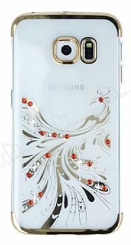 Samsung Galaxy S6 Edge Gold Peacock Taşlı Şeffaf Silikon Kılıf