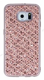 Samsung Galaxy S6 Edge Simli Kumaş Rose Gold Silikon Kılıf