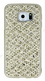 Samsung Galaxy S6 Edge Simli Kumaş Gold Silikon Kılıf