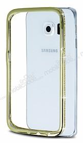 Samsung Galaxy S6 Edge Taşlı Bumper Çerçeve Gold Kılıf