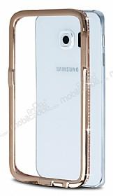 Samsung Galaxy S6 Edge Taşlı Bumper Çerçeve Rose Gold Kılıf