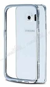Samsung Galaxy S6 Edge Taşlı Bumper Çerçeve Silver Kılıf